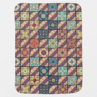 Vintage mosaic talavera ornament baby blanket