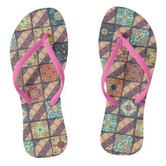 Vintage mosaic talavera ornament flip flops