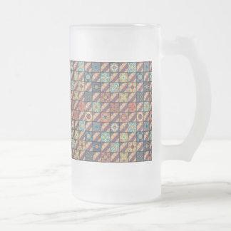 Vintage mosaic talavera ornament frosted glass beer mug