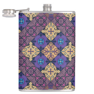 Vintage mosaic talavera ornament hip flask