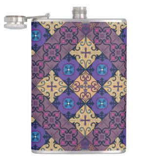 Vintage mosaic talavera ornament hip flask