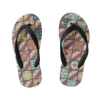 Vintage mosaic talavera ornament kid's flip flops