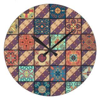 Vintage mosaic talavera ornament large clock