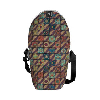 Vintage mosaic talavera ornament messenger bag