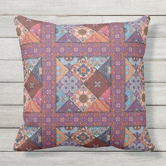 Vintage mosaic talavera ornament outdoor pillow