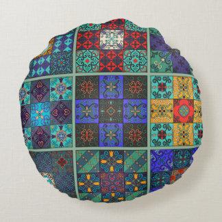 Vintage mosaic talavera ornament round pillow