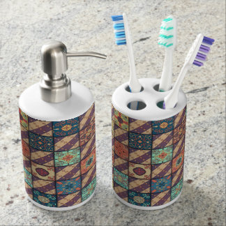 Vintage mosaic talavera ornament soap dispenser and toothbrush holder