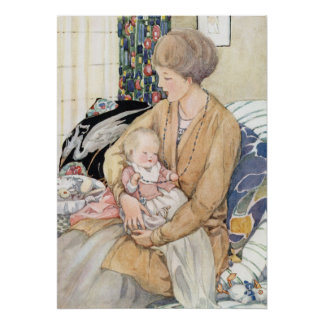 Vintage Mother and Baby by Anne Anderson Poster