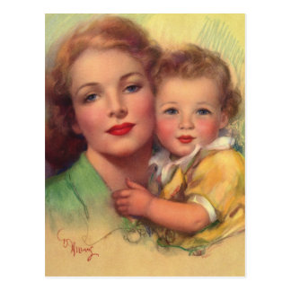 Vintage Mother and Child Family Portrait Postcard