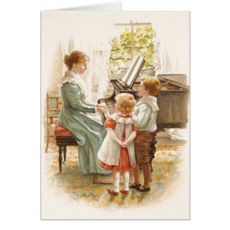 Vintage Mother And Children With Piano Card