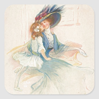 Vintage Mother and Daughter Kiss Square Sticker
