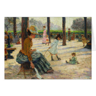 Vintage Mother and her Children in the Park Card