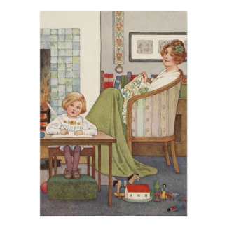 Vintage Mother and Son by Millicent Sowerby Poster