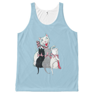 Vintage Mother Cat Three Kittens Pink Bows All-Over-Print Tank Top