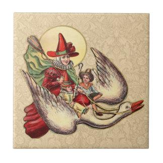 Vintage Mother Goose Antique Illustration Ceramic Tiles