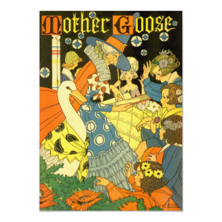 Vintage Mother Goose Books and Children Invitation