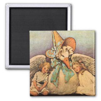 Vintage Mother Goose Children Jessie Willcox Smith Square Magnet