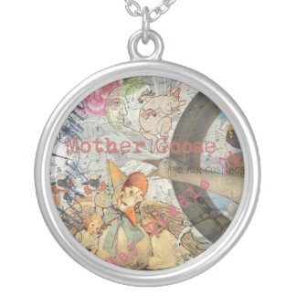 Vintage Mother Goose Fairy tale Collage Silver Plated Necklace