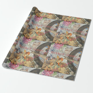 Vintage Mother Goose Fairy tale Collage Wrapping Paper
