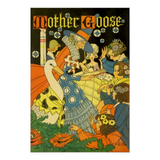Vintage Mother Goose Reading Books to Children Print