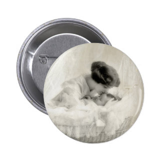 Vintage Mother Kissing Baby in Bassinet 2 Inch Round Button