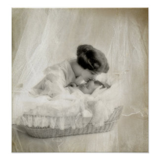 Vintage Mother Kissing Baby in Bassinet Poster