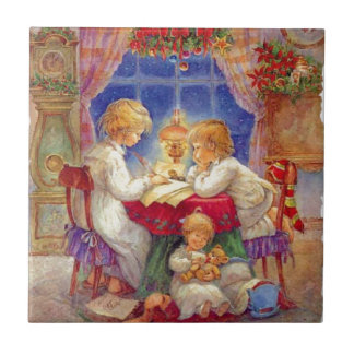 Vintage Mother with children At The Table Tile