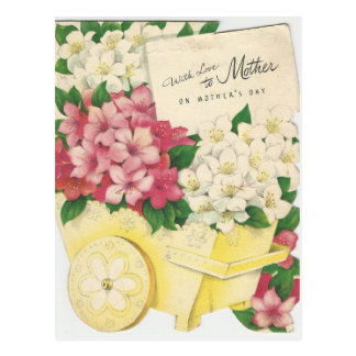 Vintage Mother's Day Cart Of Flowers Postcard