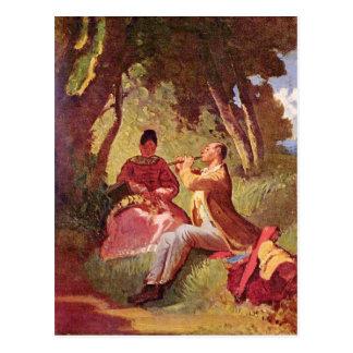 Vintage Motive - Flute concert - Spitzweg Postcard