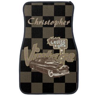Vintage Motor Car Cruise Nights Checkerboard Back Car Mat