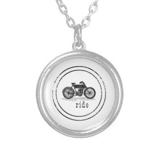 Vintage motorbike stamp silver plated necklace