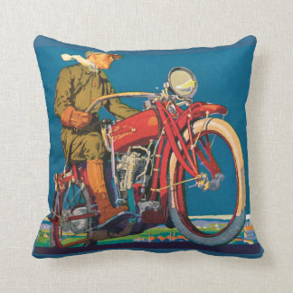 Vintage Motorcycle Advertising Throw Pillow