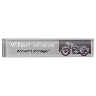 Vintage Motorcycle Desk Name Plate