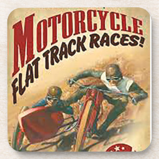 Vintage Motorcycle Flat Track Advert Coaster