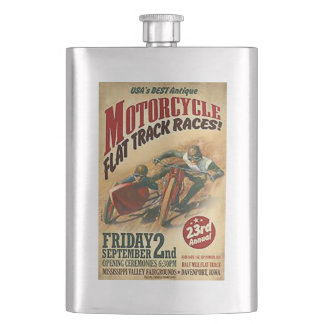 Vintage Motorcycle Flat Track Advert Hip Flask