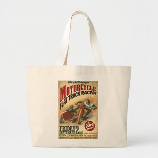Vintage Motorcycle Flat Track Advert Large Tote Bag