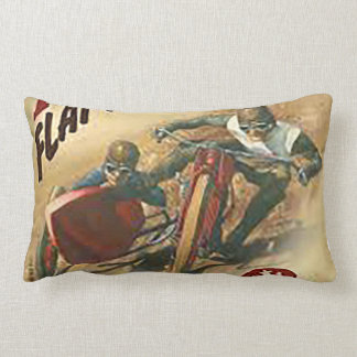 Vintage Motorcycle Flat Track Advert Lumbar Pillow
