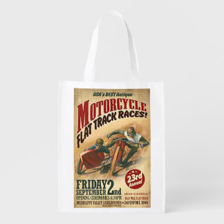 Vintage Motorcycle Flat Track Advert Reusable Grocery Bag