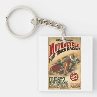 Vintage Motorcycle Flat Track Advert Single-Sided Square Acrylic Keychain