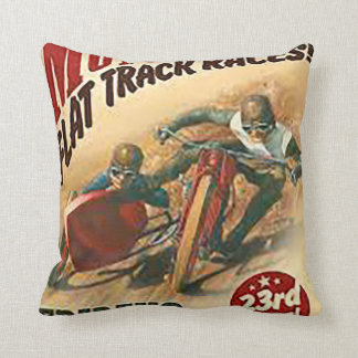 Vintage Motorcycle Flat Track Advert Throw Pillow