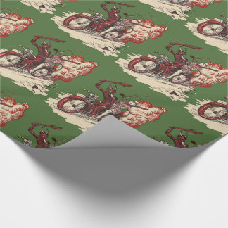 Vintage Motorcycle Krampus Wrapping Paper