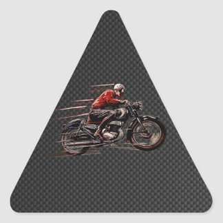 VINTAGE MOTORCYCLE ON CARBON FIBER. TRIANGLE STICKER