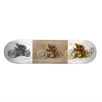 Vintage Motorcycle Racing on Wooden Board Skate Board