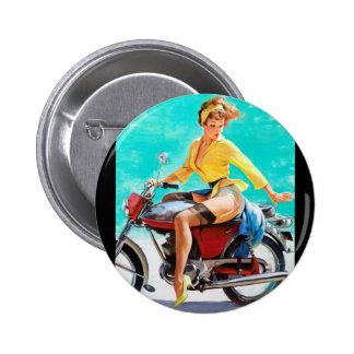 Vintage Motorcycle Rider Gil Elvgren Pinup Girl 2 Inch Round Button