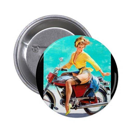 Vintage Motorcycle Rider Gil Elvgren Pinup Girl Pin