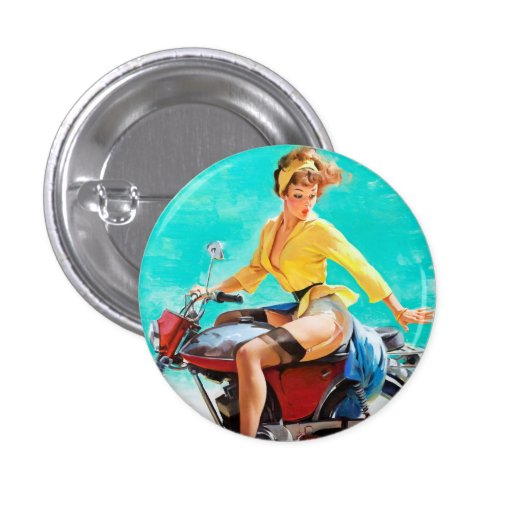 Vintage Motorcycle Rider Gil Elvgren Pinup Girl Buttons