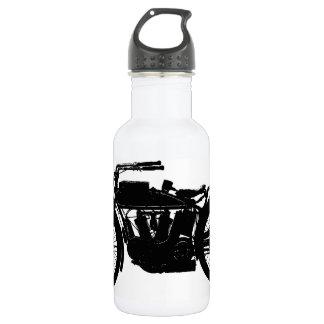 Vintage Motorcycle Silhouette in Rich Black 532 Ml Water Bottle