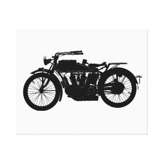 Vintage Motorcycle Silhouette in Rich Black Canvas Print