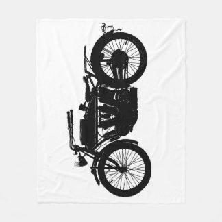 Vintage Motorcycle Silhouette in Rich Black Fleece Blanket