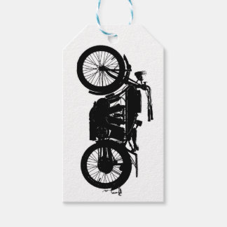 Vintage Motorcycle Silhouette in Rich Black Gift Tags